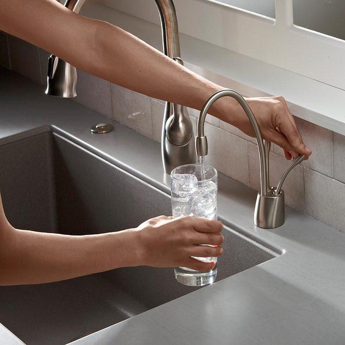 insinkerator f hc1100sn series 1100 instant hot cool water dispenser satin nickel