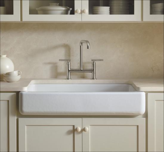 Kohler K 6488 47 Almond Whitehaven 36 Single Basin Undermount Enameled Cast Iron Kitchen Sink