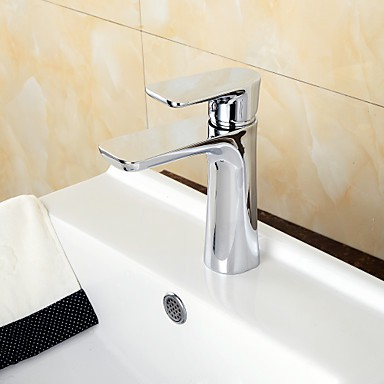 Contemporary Chrome Brass Hot And Cold Single Handle Bathroom Sink Faucet Basin Mixer Faucet Shop