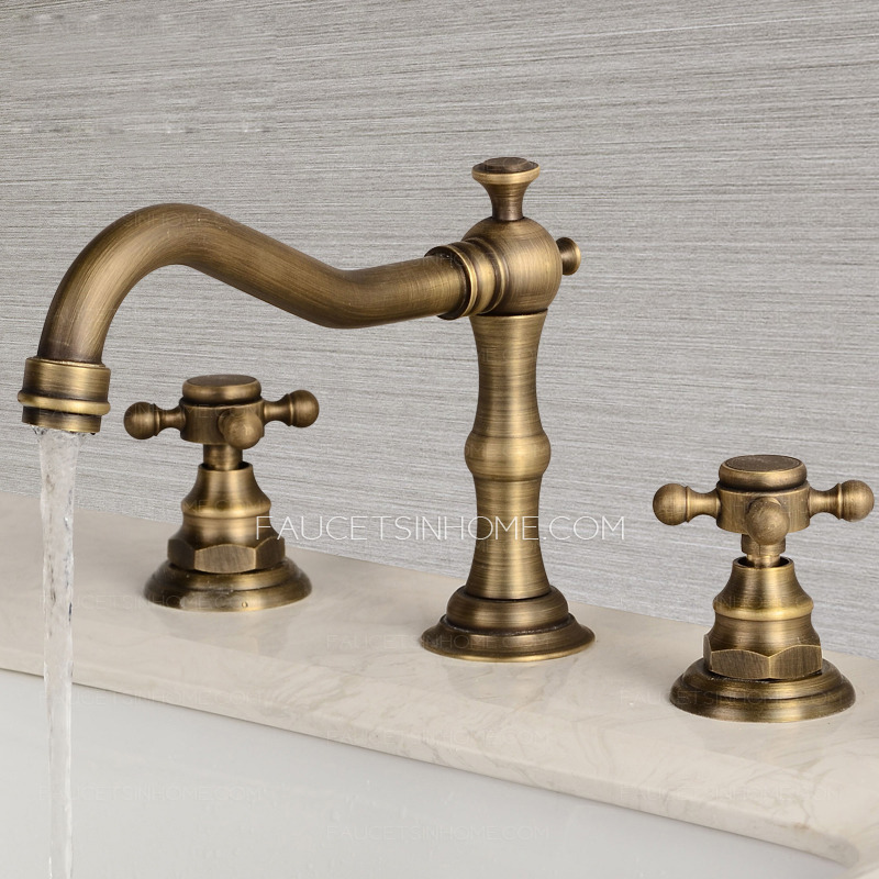 vintage antique brass three hole cross handle bathroom faucet ftsih150416053627