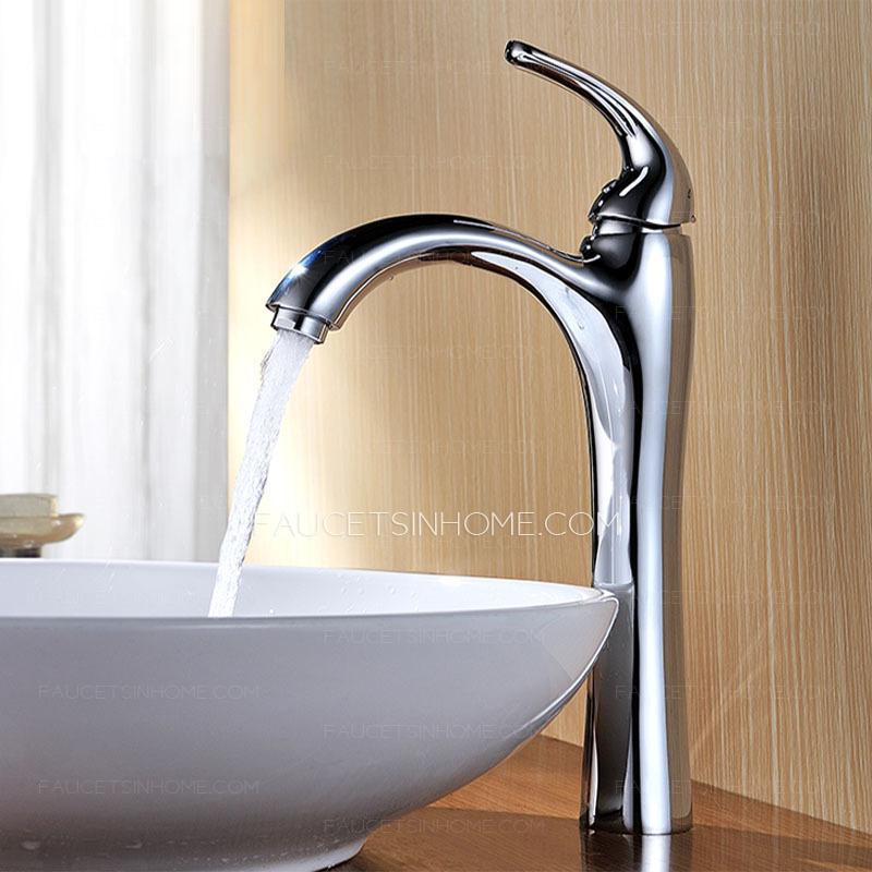 high end tall single handle bathroom vessel sink faucet