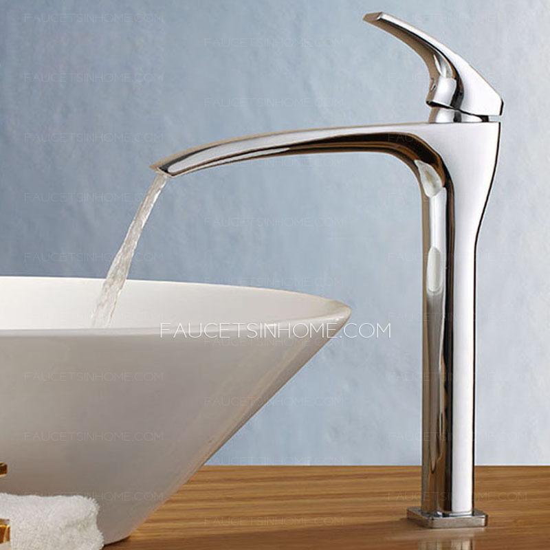 high end lengthen spout tall waterfall bathroom sink faucet