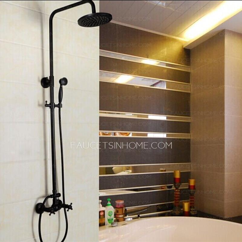 vintage oil rubbed bronze cross handle rain shower faucet system fth7587