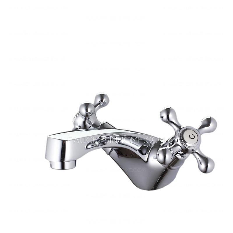 vintage silver two handles single hole bathroom faucet fth8258