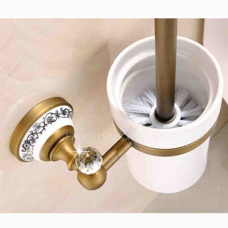 Antique Brass White Ceramic Toilet Bowl Brush Holder Wall Mounted