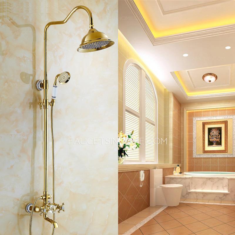 european style vintage handle ceramic brass shower faucet system fth10290