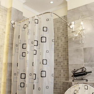affordable l shaped white shower curtain rod no punch fth08031056357