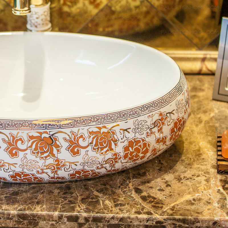 Orange Oval Porcelain Bathroom Sinks Pattern Painting Single Bowl
