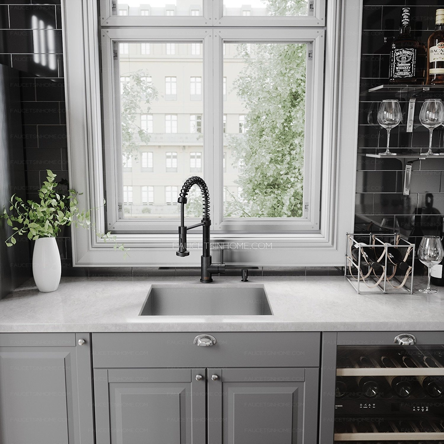 matte black oil rubbed bronze spring kitchen sink faucet with sprayer fth1803281602333