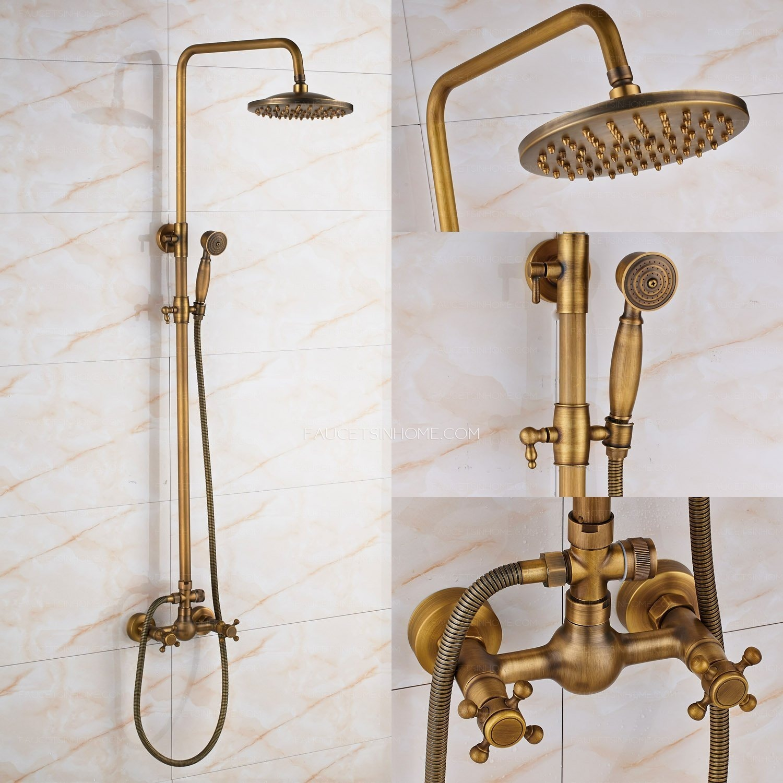 antique brass rainfall shower faucet brushed gold shower head fth1804211457132