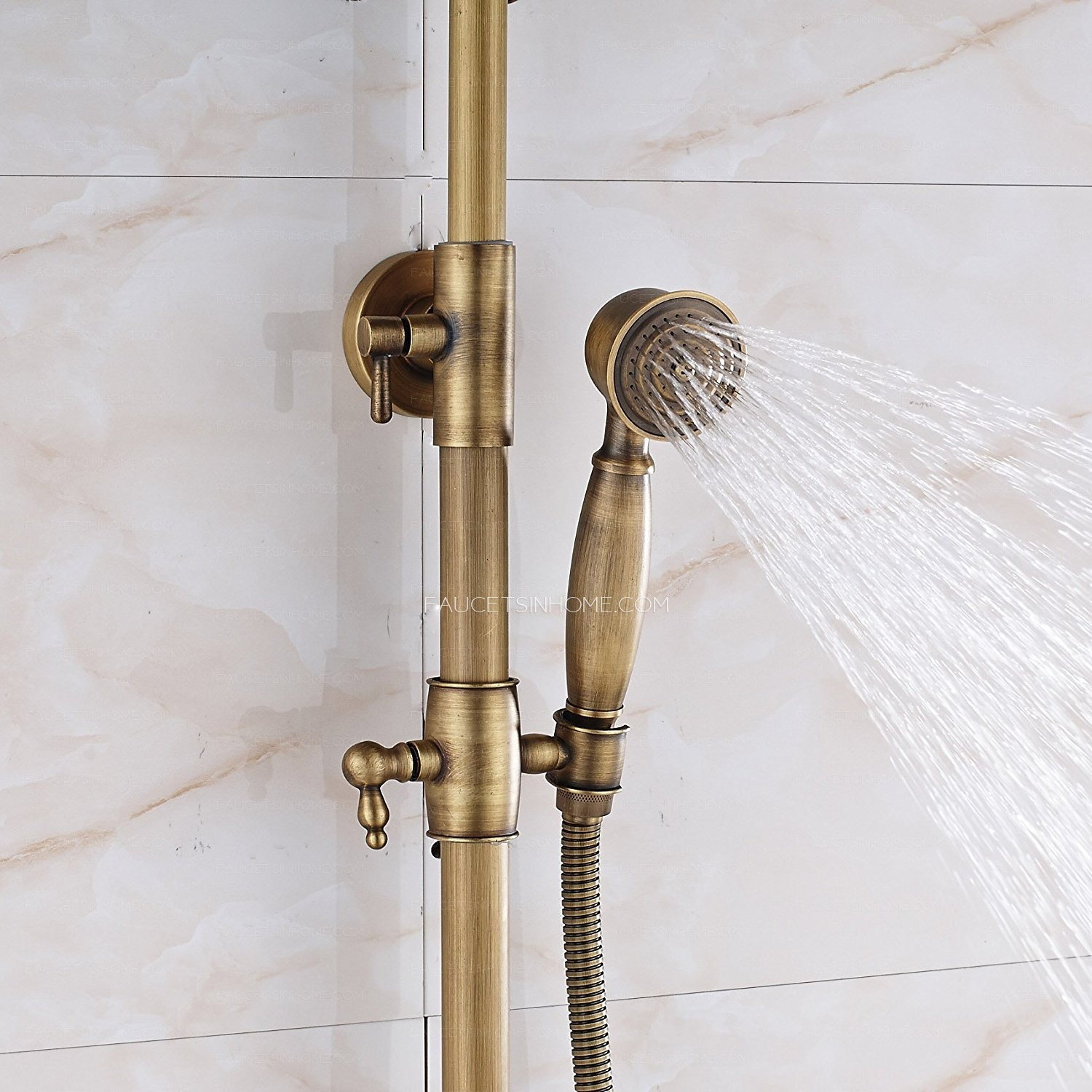 Antique Brass Rainfall Shower Faucet Brushed Gold Shower Head Fth1804211457132