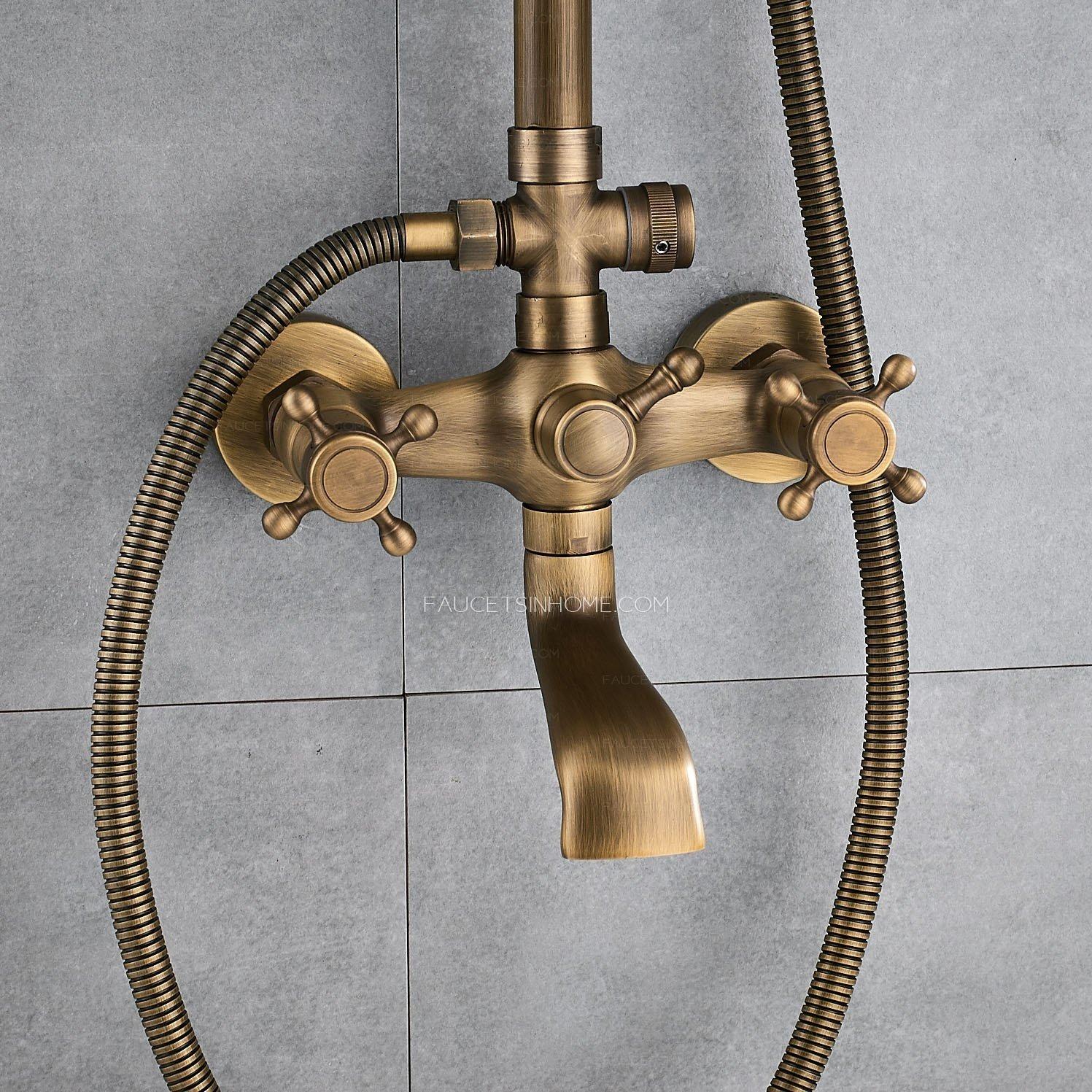 Antique Brass Shower Faucet Brushed Gold Rainfall Shower Head Fth1804250917457