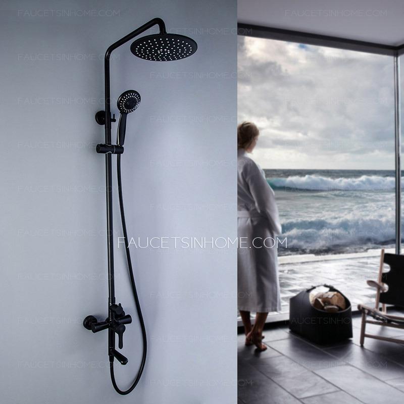 matte black stainless steel shower faucet kit bathtub 8 inch shower head fth1807141545236