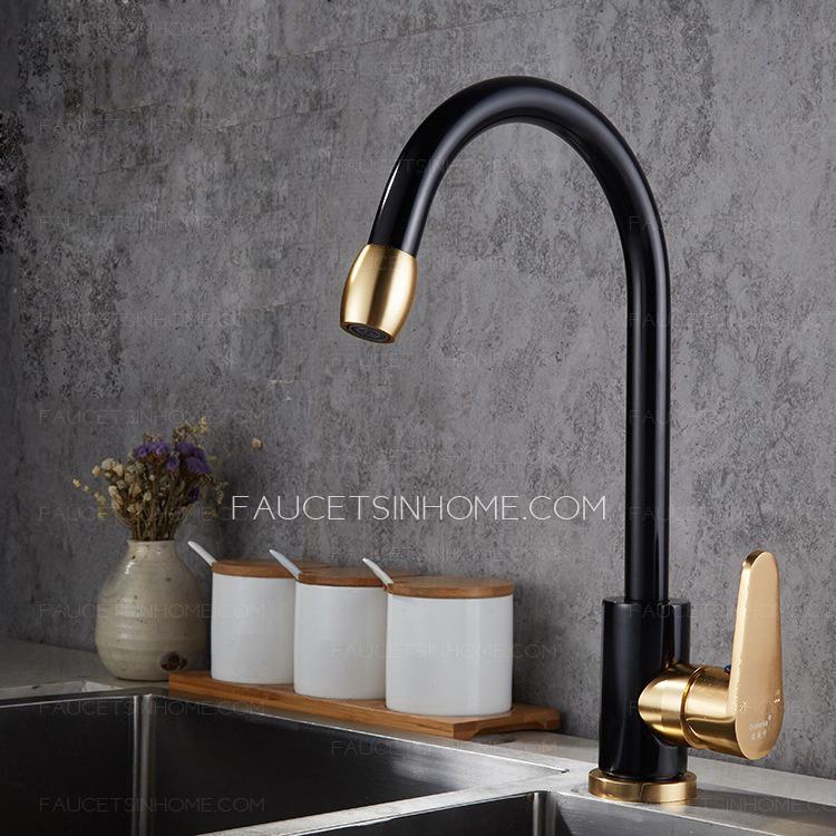 modern black and gold gooseneck aluminum kitchen sink faucet simple fth1808061123503