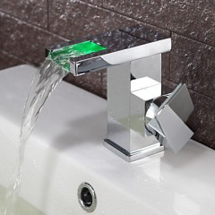 Contemporary Color Changing LED Bathroom Sink Faucet (Waterfall) F-0824F