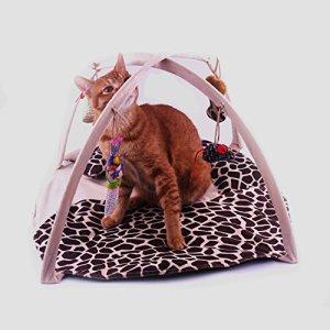 FUCNEN Tapis de jeu doux, rembourré et pliable pour chat/chaton avec jouets/balles/souris à suspendre