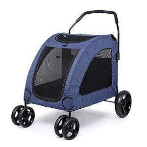 GKPLY Pliable Grand Animal Voiture Voiture Poussette transportant Chien Marchant Panier Panier siège chenil adapté pour Les Grands Chiens, Chiens blessés,Blue