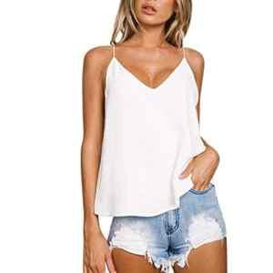 Rovinci_Femme Camisole T Shirt Top Blouse Blanc Sexy Casual Dos Ouvert Col V Été Gilet Lâche Gilet Décontracté Débardeurs sans Manches Mode