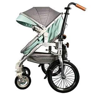 DWhui Poussette de bébé père-Fils Pliant vélo Moto Tricycle pour mère et bébé père-Fils vélo 2 en 1 Convient pour Une Famille de Trois Utilisation