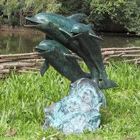 Rêve Bronze Gargouille de jardin avec dauphins–Maurice, bronze