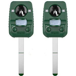 AngLink 2 x Répulsif Chat Ultrason Solaire Repulsif Chat Exterieur Ultrason Chat pour Repousser Animaux Nuisibles Protecteur de Jardin-2019 Nouvelle Version