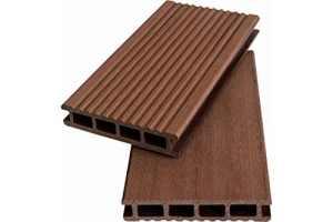 Motif/motif/motif WPC creux WoodoKorfu, 20 x 120 mm, marron, cannelé/lisse, réversible (2,90 €/m²)