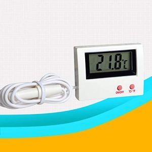 Erduo Thermomètre pour Aquarium HT-5 Mini Aquarium Moniteur de température de l'eau pour Aquarium Thermomètre numérique Submersible étanche LCD Filaire – Blanc