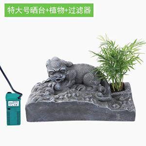 JRTAN & Pet Tortue bénédiction de Style Chinois terrasse Tortue séchant décoration de réservoir de Tortue, très Grand Animal + Filtre