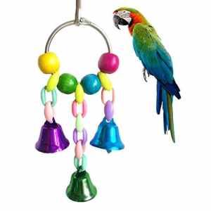 Namgiy Jouet suspendu à mâcher pour oiseau Avec cloches Accessoire pour cage de perroquet, perroquet gris d'Afrique, ara macao, perruche, cacatoès et inséparable