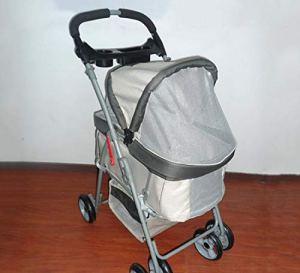 YAMEIJIA Chariot pour animalerie Chariot Respirant Pliable Chariot extérieur pour Chats et Chiens Grande capacité 78.5cm * 47cm * 99cm,Khaki