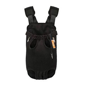 NICREW Sac de Transport pour Animaux Chien Chiot Pet Carrier Sac à Dos de Ventral Poitrine Net Bag en Cotton Canvas (M, Noir)