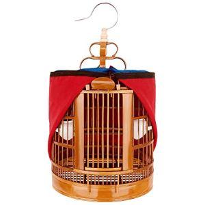 Yanxinenjoy Cage à Oiseaux en Bambou Artisanat en Bambou Fait Main Cage à Oiseaux Durable et sûr@36cm Rouge