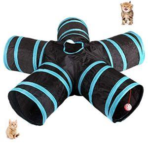 UniM Tunnel Cat à 5 Voies Tunnel escamotable Extensible et Pliable pour Chat, Labyrinthe de Jouets avec Pompon et Cloches pour Chat Chiot Chaton Lapin