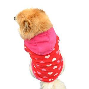SCHOLIEBEN VêTements Chien Chat Sweater Costume d'hiver Halloween sans Manches,Sweat à Capuche en Molleton pour Chien Capuche Pull Costumes(Rouge,L)