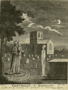 Edward Kelly, a magician. In the act of invoking the spirit of a deceased person.