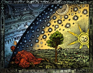 Flammarion engraving. 1888. Man pokes his head through the heavenly firmament to view the workings of heaven.