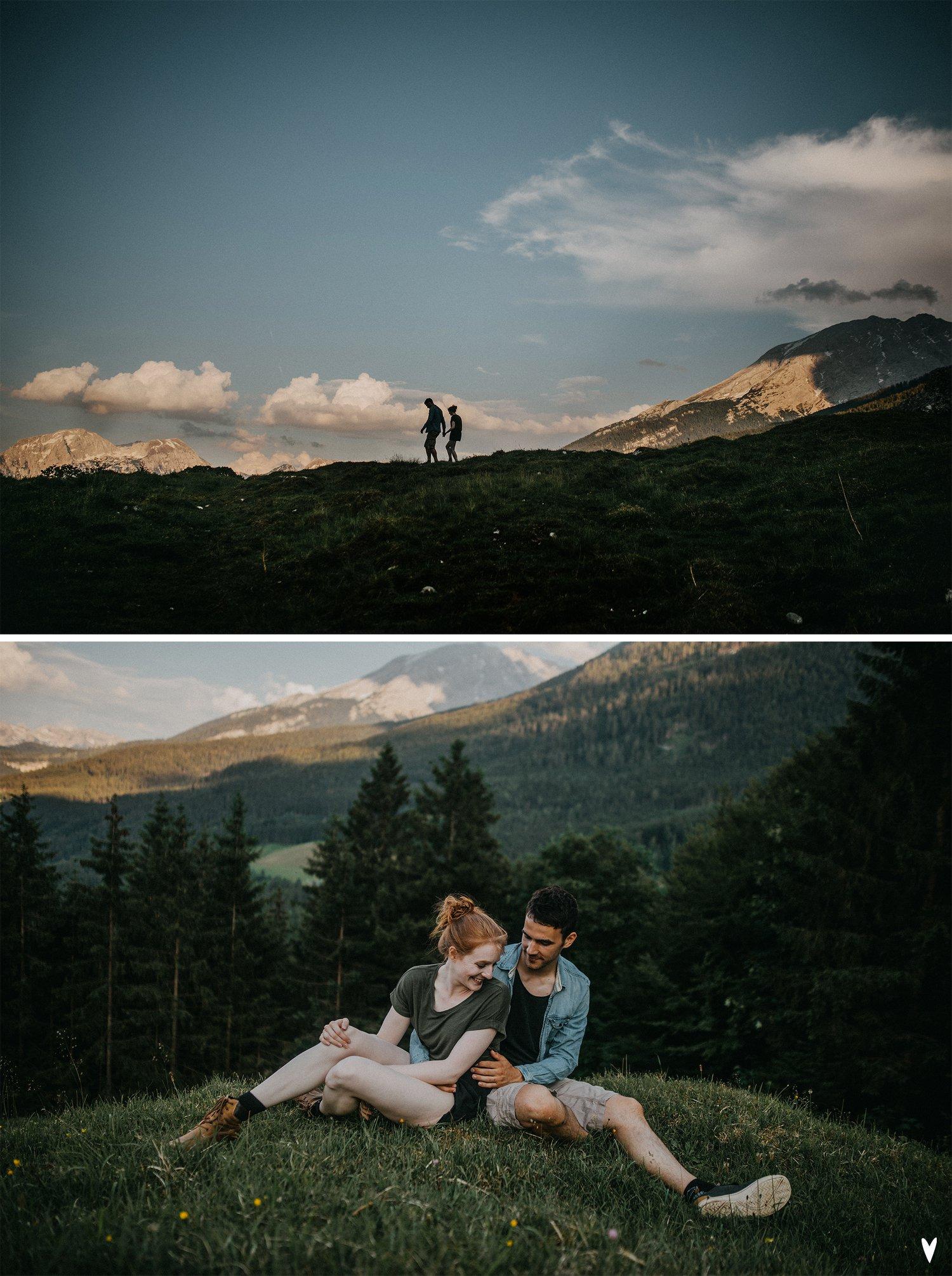 diptyque d'un couple en montagne