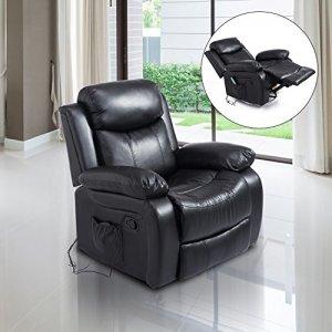 Fauteuil de massage et relaxation électrique chauffant inclinable pivotant repose-pied télécommande noir neuf 55