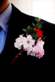 grooms buttonhole cherry blossom