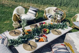 table garland low seating hire