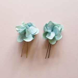 blue hydrangea flower hair pins