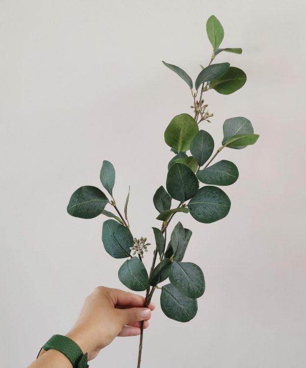 artificial eucalyptus spray stem green grey