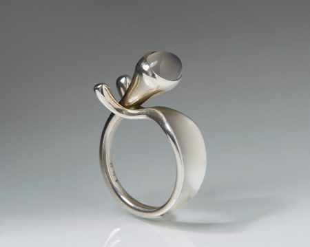 Moonstone and sterling silver ring for famous designer Georg Jensen.