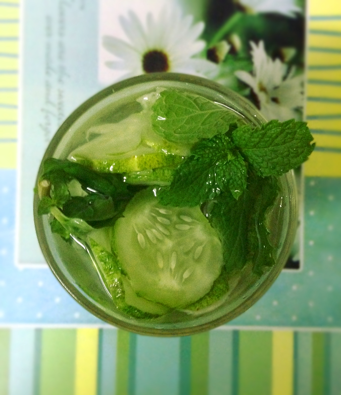 Refreshing cucumber mint water