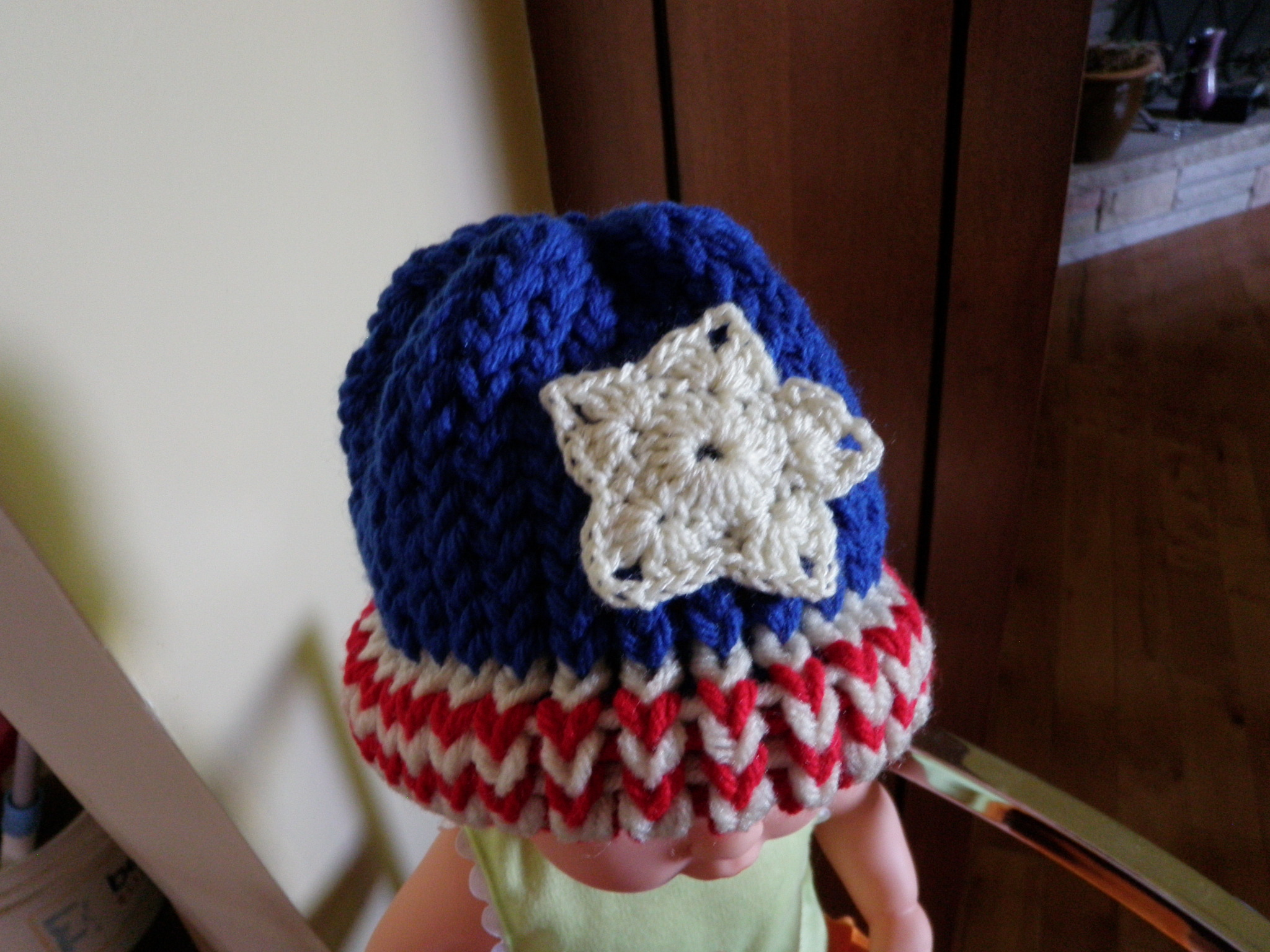 Crochet Super Stars Applied To Loom Knit Baby Hat
