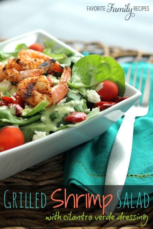 Grilled Shrimp Salad with Cilantro Verde Dressing