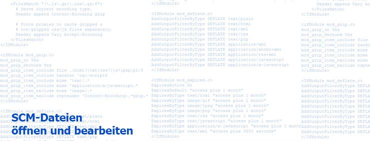 SCM-Dateien, öffnen und bearbeiten