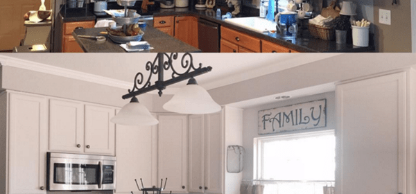 A Kitchen Before and After: Collonade Gray and China White
