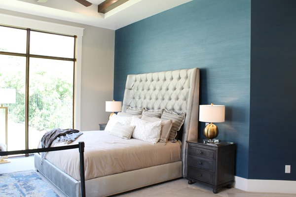 master bedroom - wall paper on accent wall