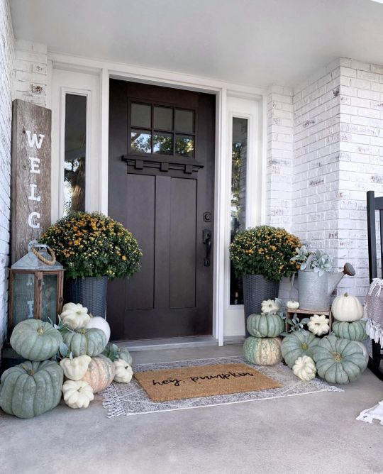 Farmhouse front porch for fall